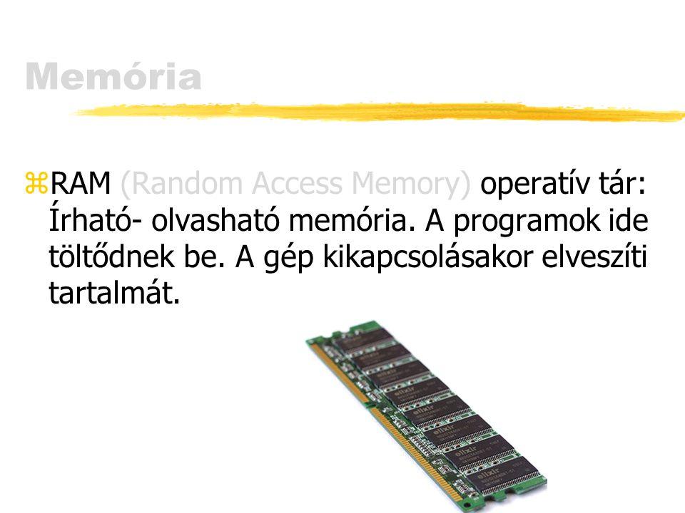Memória zRAM (Random Access Memory) operatív tár: Írható- olvasható memória. A programok ide töltődnek be. A gép kikapcsolásakor elveszíti tartalmát.