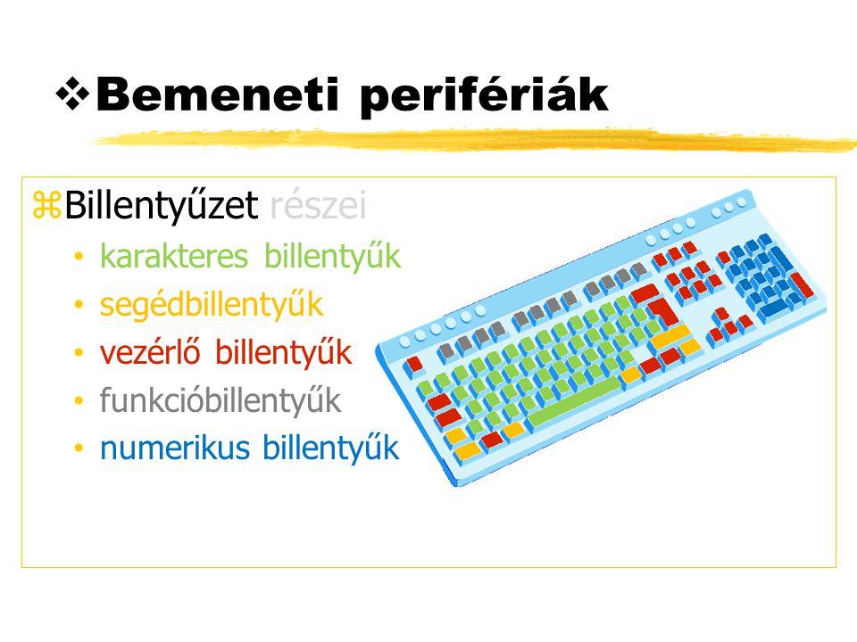  Bemeneti perifériák zBillentyűzet részei karakteres billentyűk segédbillentyűk vezérlő billentyűk funkcióbillentyűk numerikus billentyűk