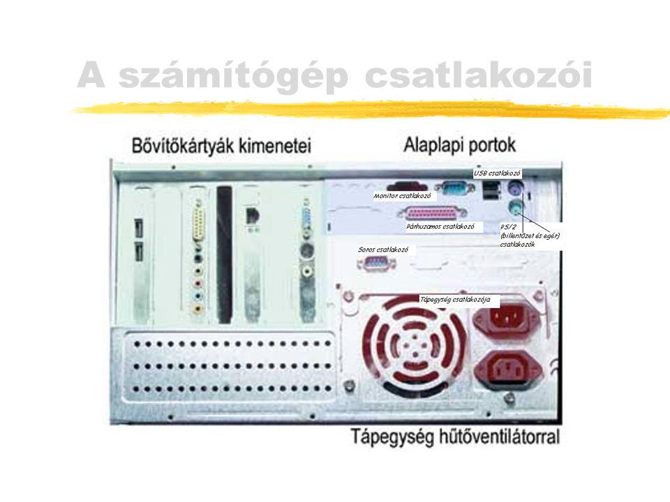 Központi vezérlőegység (CPU) Processzor zRészei: Vezérlőegység: irányítja a feldolgozás folyamatát Műveleti egység (ALU): matematikai és logikai műveletek végzése (Regiszterek: adatok átmeneti tárolása)