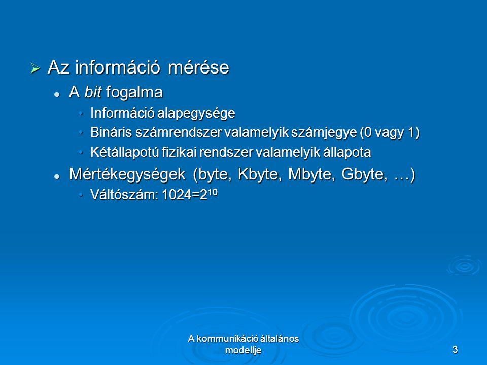 A kommunikáció általános modellje3  Az információ mérése A bit fogalma A bit fogalma Információ alapegységeInformáció alapegysége Bináris számrendszer valamelyik számjegye (0 vagy 1)Bináris számrendszer valamelyik számjegye (0 vagy 1) Kétállapotú fizikai rendszer valamelyik állapotaKétállapotú fizikai rendszer valamelyik állapota Mértékegységek (byte, Kbyte, Mbyte, Gbyte, …) Mértékegységek (byte, Kbyte, Mbyte, Gbyte, …) Váltószám: 1024=2 10Váltószám: 1024=2 10