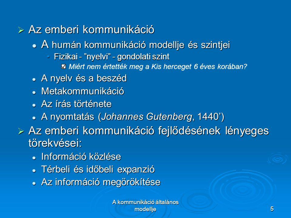 A kommunikáció általános modellje5  Az emberi kommunikáció A humán kommunikáció modellje és szintjei A humán kommunikáció modellje és szintjei Fizikai - nyelvi - gondolati szintFizikai - nyelvi - gondolati szint Miért nem értették meg a Kis herceget 6 éves korában.