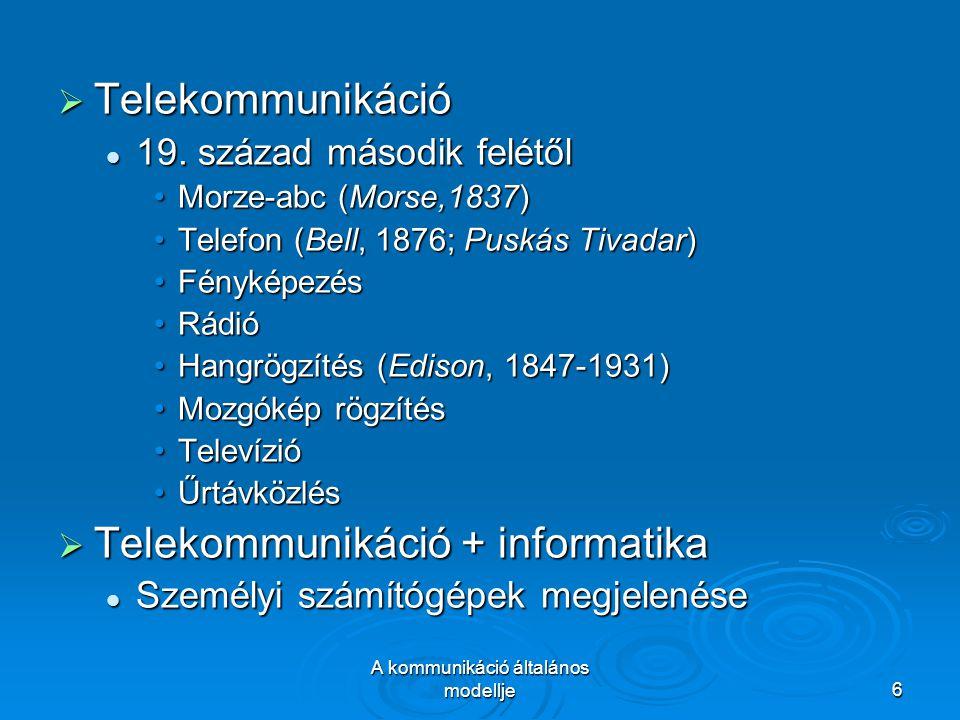A kommunikáció általános modellje6  Telekommunikáció 19. század második felétől 19. század második felétől Morze-abc (Morse,1837)Morze-abc (Morse,183