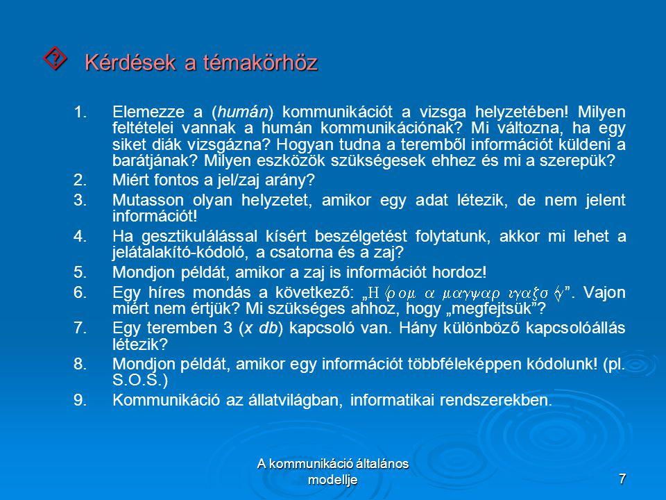 A kommunikáció általános modellje7  Kérdések a témakörhöz 1.