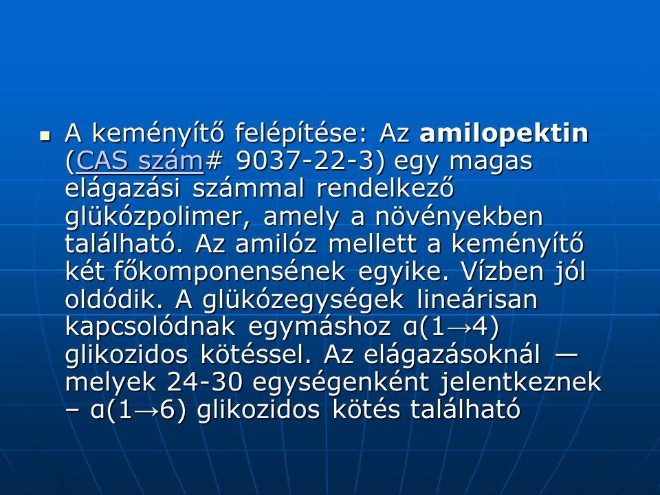 A keményítő felépítése: Az amilopektin (CAS szám# 9037-22-3) egy magas elágazási számmal rendelkező glükózpolimer, amely a növényekben található.