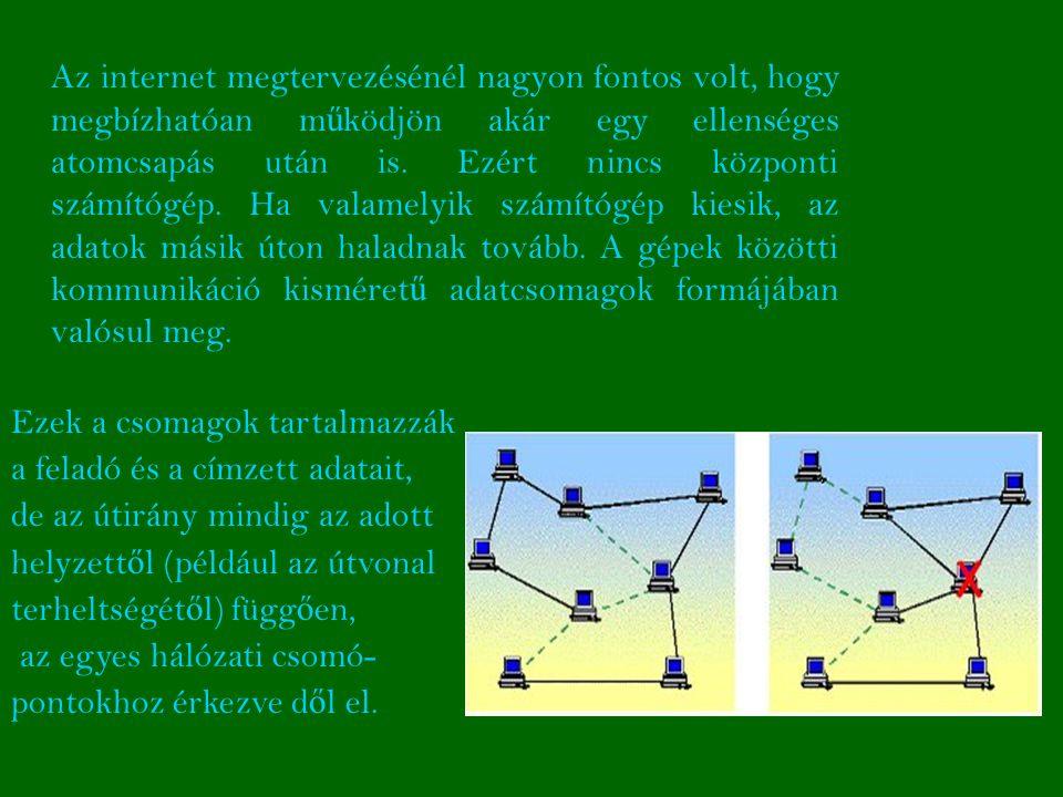 Az internet megtervezésénél nagyon fontos volt, hogy megbízhatóan m ű ködjön akár egy ellenséges atomcsapás után is.