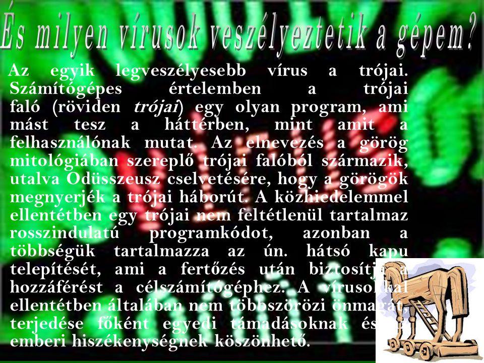 Az egyik legveszélyesebb vírus a trójai.