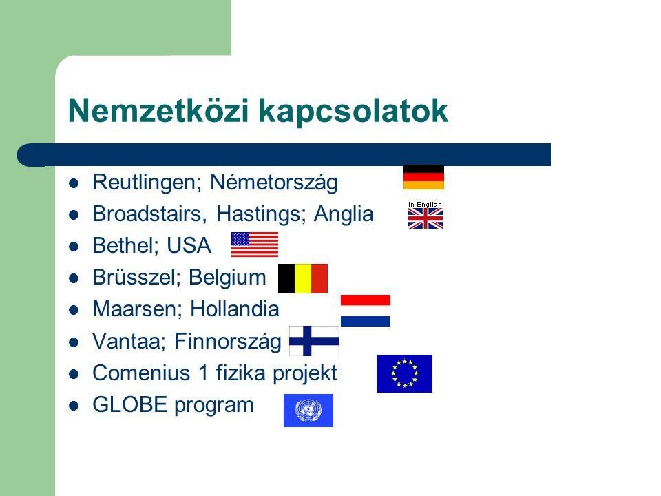 Nemzetközi kapcsolatok Reutlingen; Németország Broadstairs, Hastings; Anglia Bethel; USA Brüsszel; Belgium Maarsen; Hollandia Vantaa; Finnország Comen