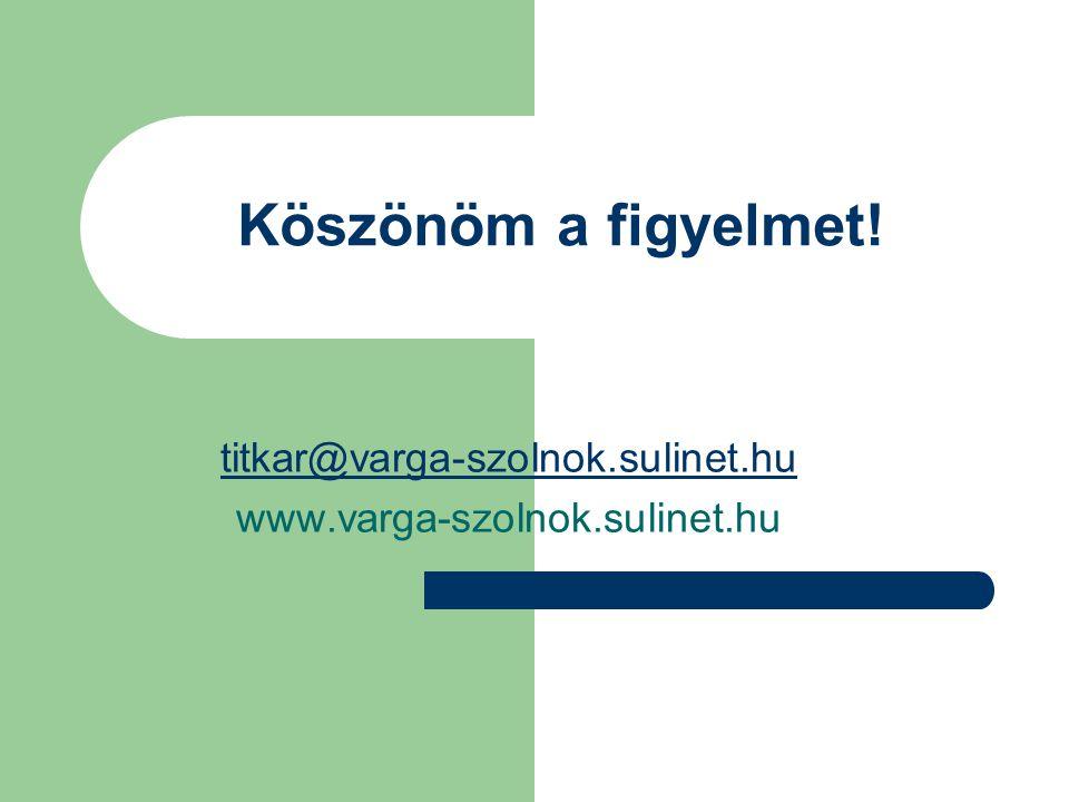 Köszönöm a figyelmet! titkar@varga-szolnok.sulinet.hu www.varga-szolnok.sulinet.hu