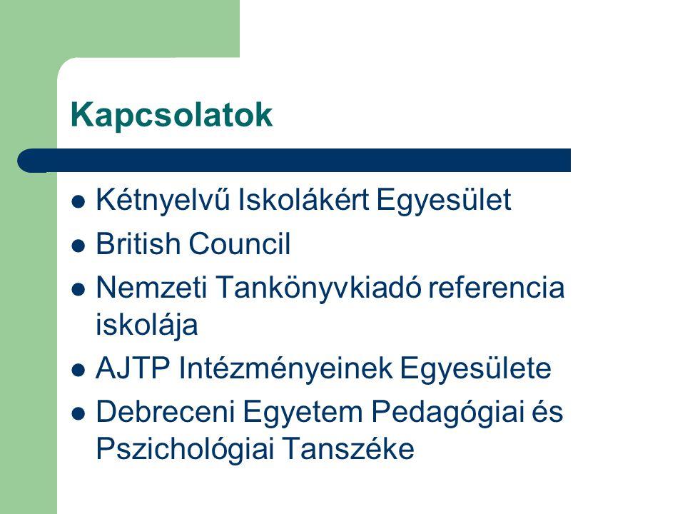 Kapcsolatok Kétnyelvű Iskolákért Egyesület British Council Nemzeti Tankönyvkiadó referencia iskolája AJTP Intézményeinek Egyesülete Debreceni Egyetem