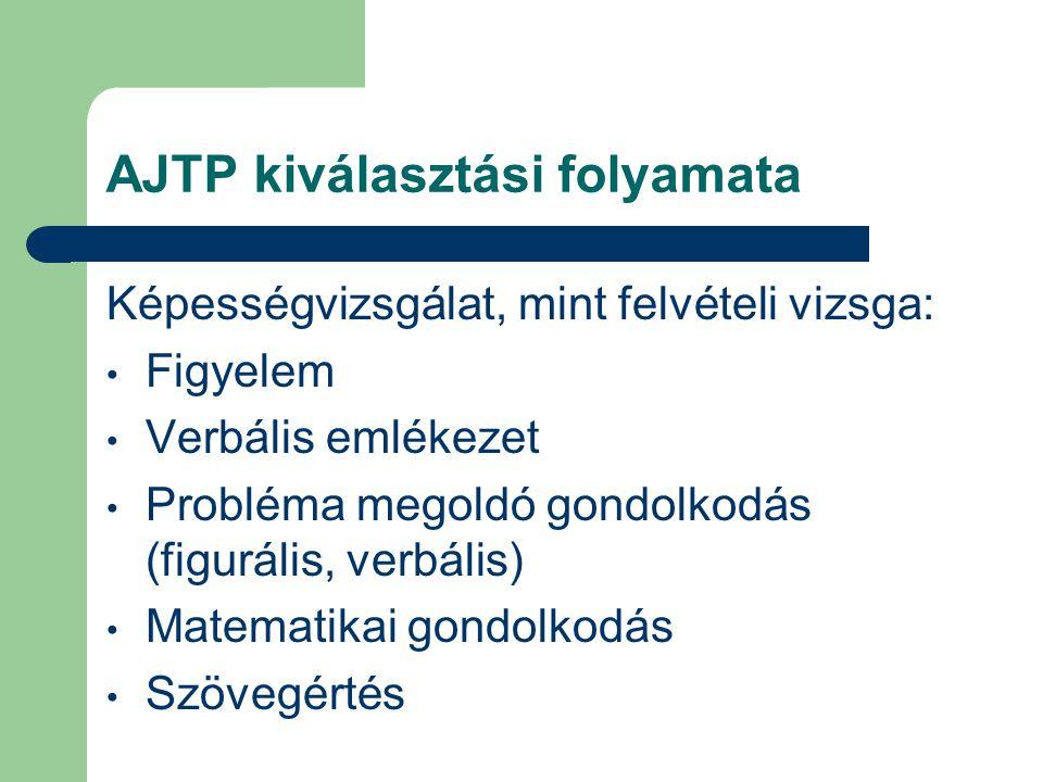 AJTP kiválasztási folyamata Képességvizsgálat, mint felvételi vizsga: Figyelem Verbális emlékezet Probléma megoldó gondolkodás (figurális, verbális) M