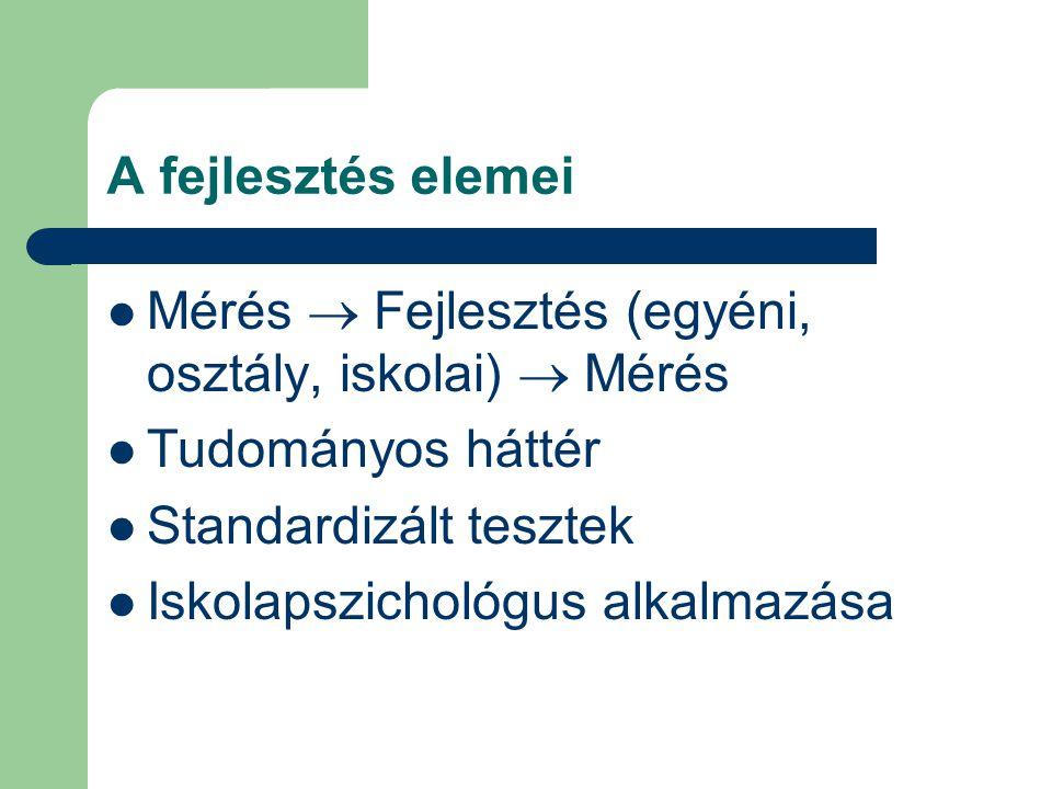 A fejlesztés elemei Mérés  Fejlesztés (egyéni, osztály, iskolai)  Mérés Tudományos háttér Standardizált tesztek Iskolapszichológus alkalmazása