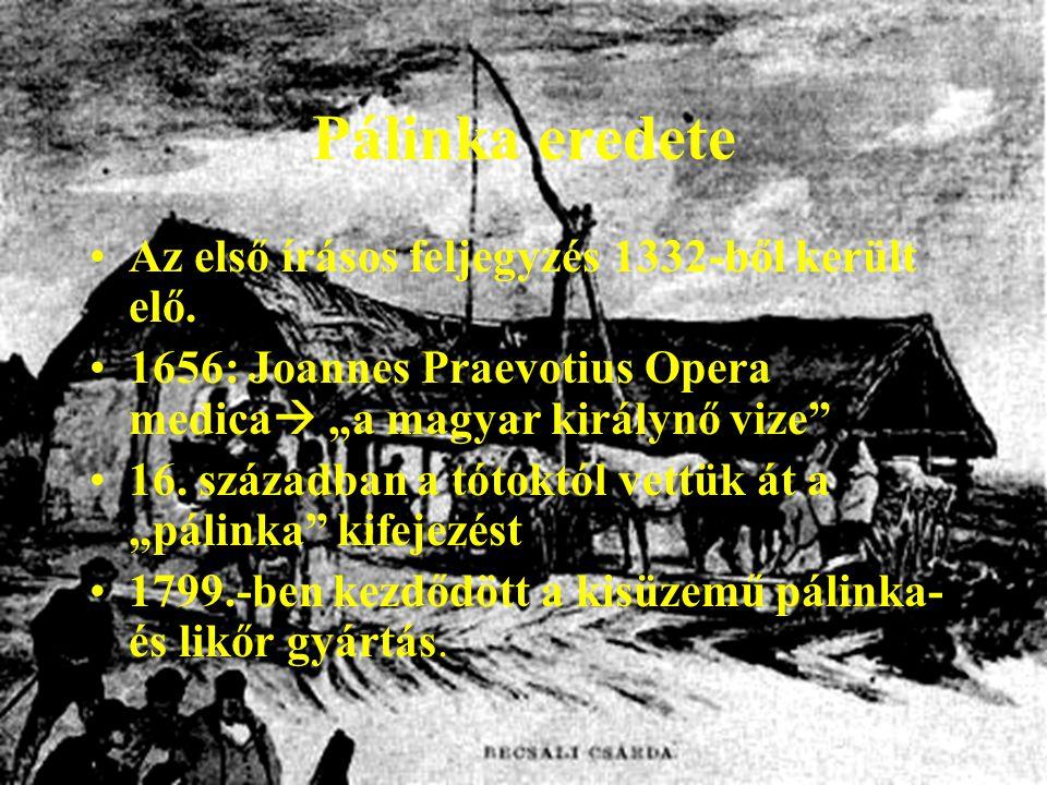 """Pálinka eredete Az első írásos feljegyzés 1332-ből került elő. 1656: Joannes Praevotius Opera medica  """"a magyar királynő vize"""" 16. században a tótokt"""