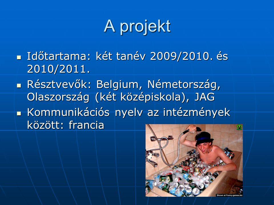 A projekt Időtartama: két tanév 2009/2010. és 2010/2011. Időtartama: két tanév 2009/2010. és 2010/2011. Résztvevők: Belgium, Németország, Olaszország