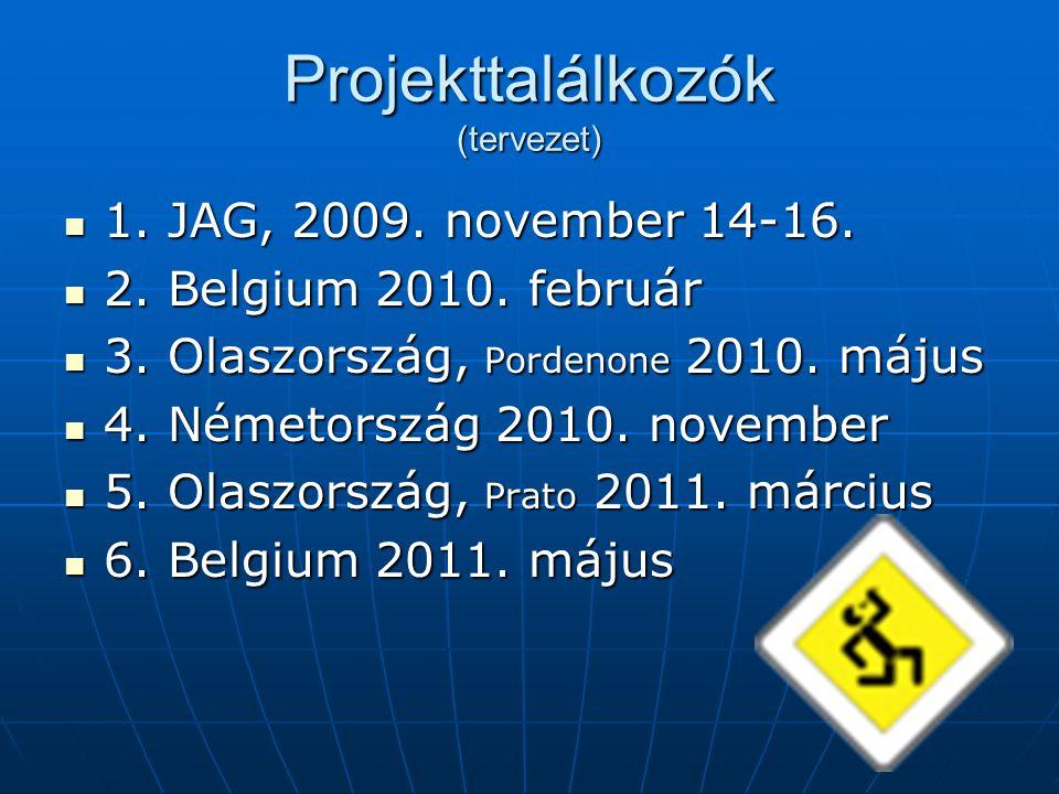 Projekttalálkozók (tervezet) 1. JAG, 2009. november 14-16. 1. JAG, 2009. november 14-16. 2. Belgium 2010. február 2. Belgium 2010. február 3. Olaszors