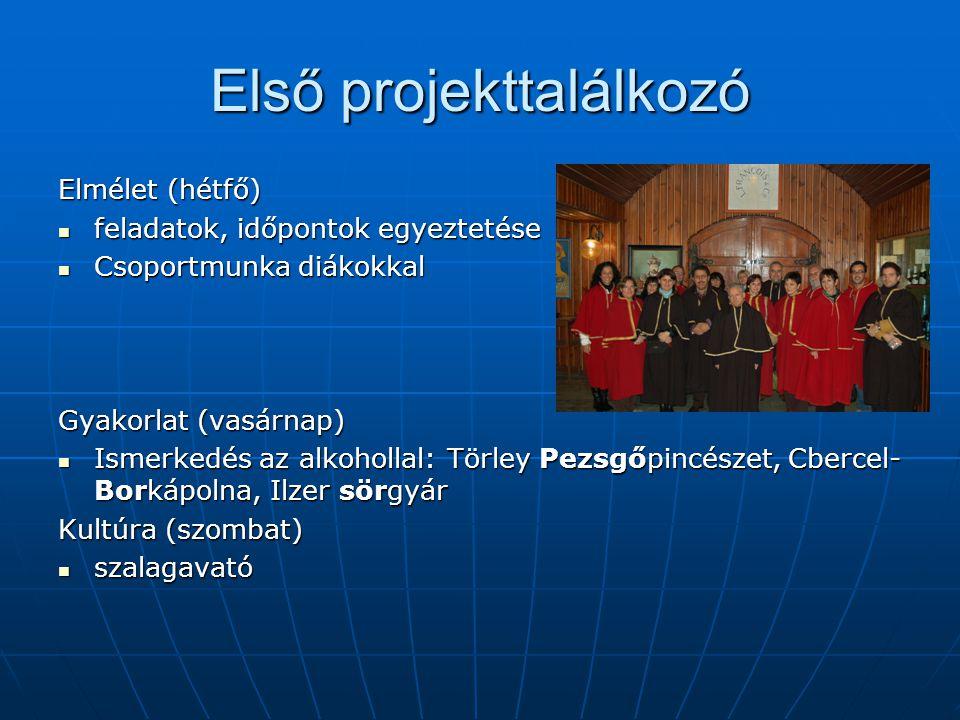 Első projekttalálkozó Elmélet (hétfő) feladatok, időpontok egyeztetése feladatok, időpontok egyeztetése Csoportmunka diákokkal Csoportmunka diákokkal Gyakorlat (vasárnap) Ismerkedés az alkohollal: Törley Pezsgőpincészet, Cbercel- Borkápolna, Ilzer sörgyár Ismerkedés az alkohollal: Törley Pezsgőpincészet, Cbercel- Borkápolna, Ilzer sörgyár Kultúra (szombat) szalagavató szalagavató