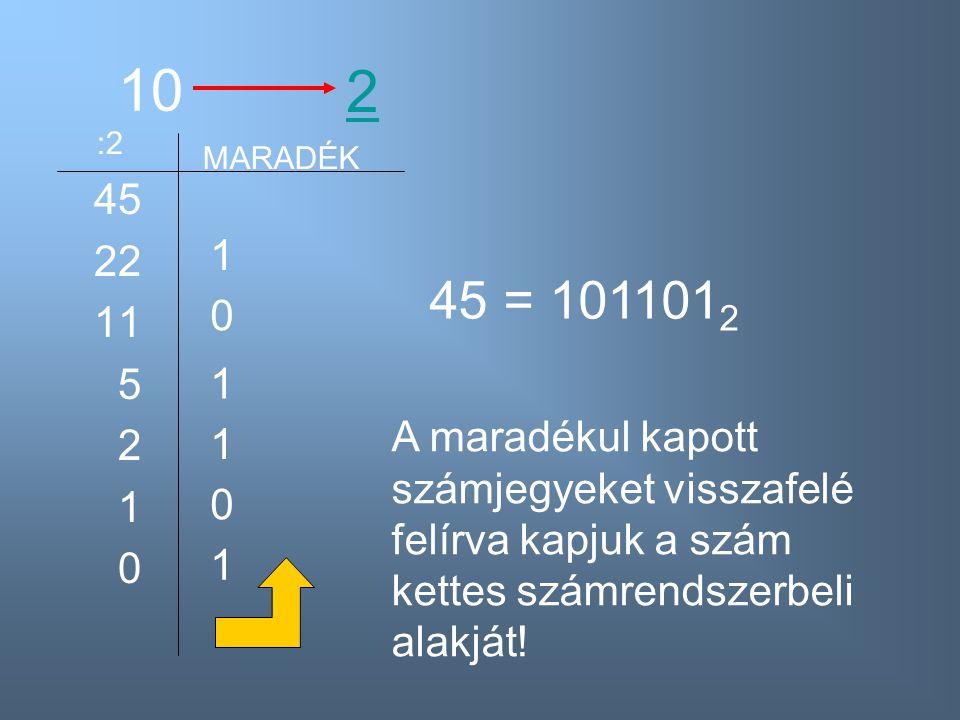 10 45 22 11 5 2 1 0 2 :2 MARADÉK 1 0 1 1 0 1 45 = 101101 2 A maradékul kapott számjegyeket visszafelé felírva kapjuk a szám kettes számrendszerbeli al