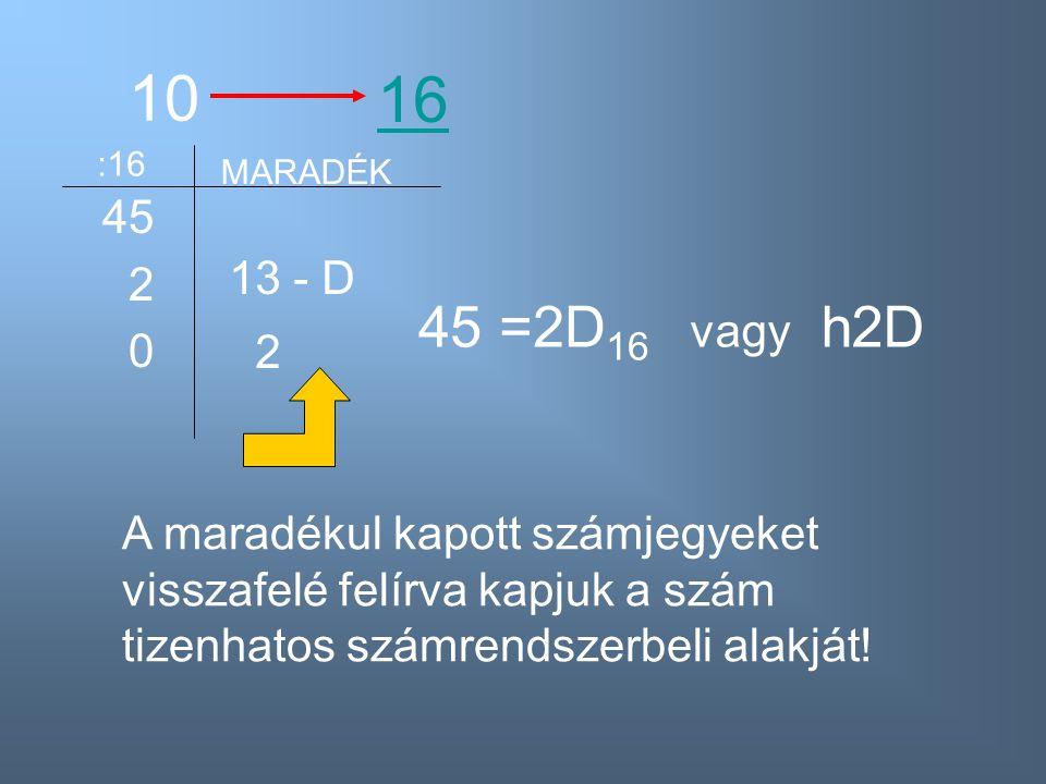 10 45 2 0 16 :16 MARADÉK 13 - D 2 45 =2D 16 A maradékul kapott számjegyeket visszafelé felírva kapjuk a szám tizenhatos számrendszerbeli alakját! vagy