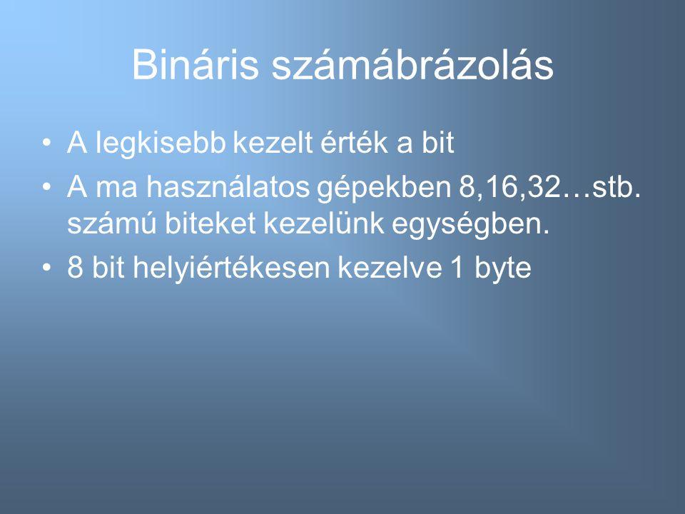 Bináris számábrázolás A legkisebb kezelt érték a bit A ma használatos gépekben 8,16,32…stb. számú biteket kezelünk egységben. 8 bit helyiértékesen kez