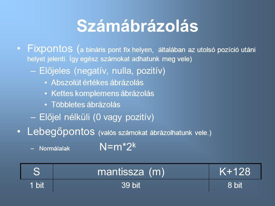 Számábrázolás Fixpontos ( a bináris pont fix helyen, általában az utolsó pozíció utáni helyet jelenti. Így egész számokat adhatunk meg vele) –Előjeles