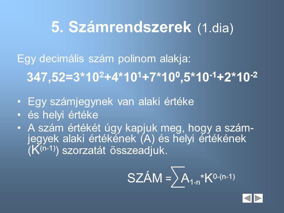 5. Számrendszerek (1.dia) Egy decimális szám polinom alakja: 347,52=3*10 2 +4*10 1 +7*10 0,5*10 -1 +2*10 -2 Egy számjegynek van alaki értéke és helyi