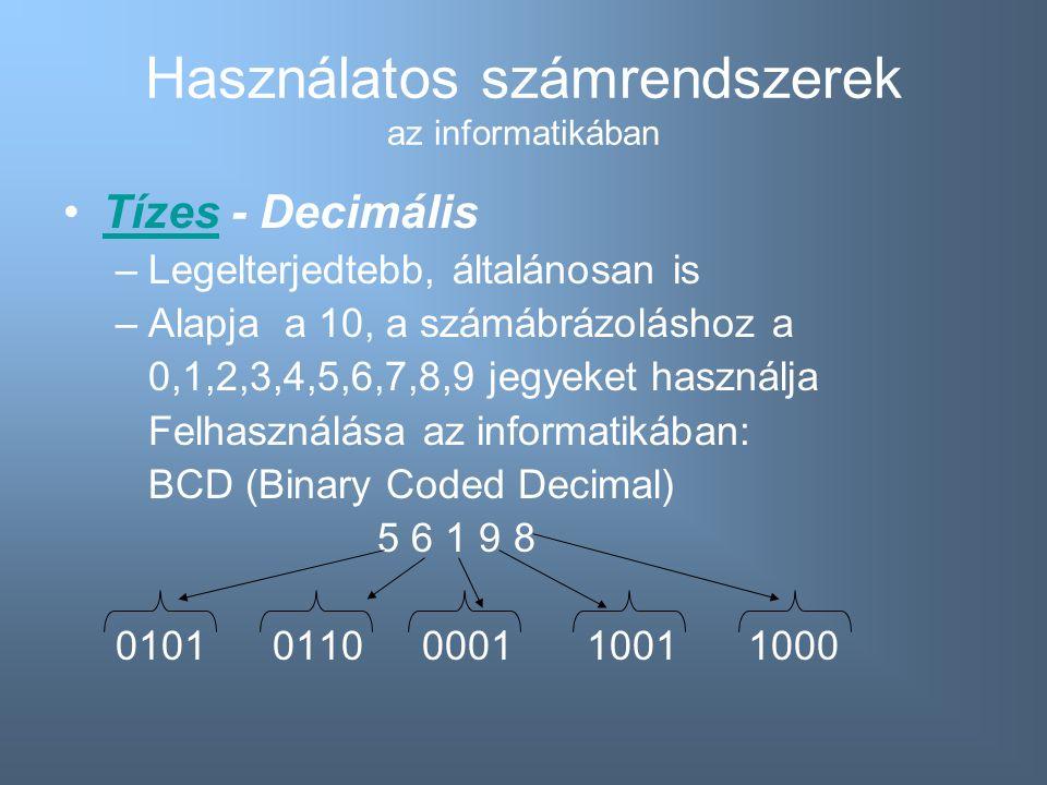 Használatos számrendszerek az informatikában Tízes - DecimálisTízes –Legelterjedtebb, általánosan is –Alapja a 10, a számábrázoláshoz a 0,1,2,3,4,5,6,