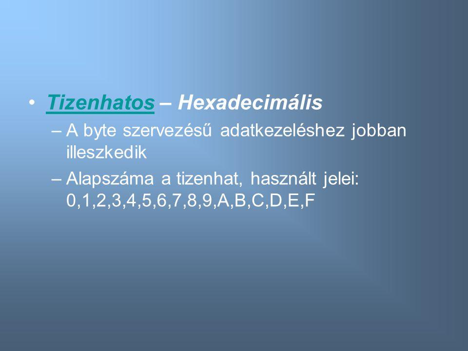 Tizenhatos – HexadecimálisTizenhatos –A byte szervezésű adatkezeléshez jobban illeszkedik –Alapszáma a tizenhat, használt jelei: 0,1,2,3,4,5,6,7,8,9,A