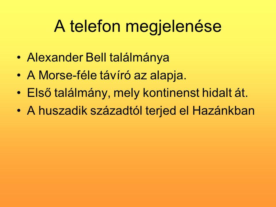 A telefon megjelenése Alexander Bell találmánya A Morse-féle távíró az alapja. Első találmány, mely kontinenst hidalt át. A huszadik századtól terjed