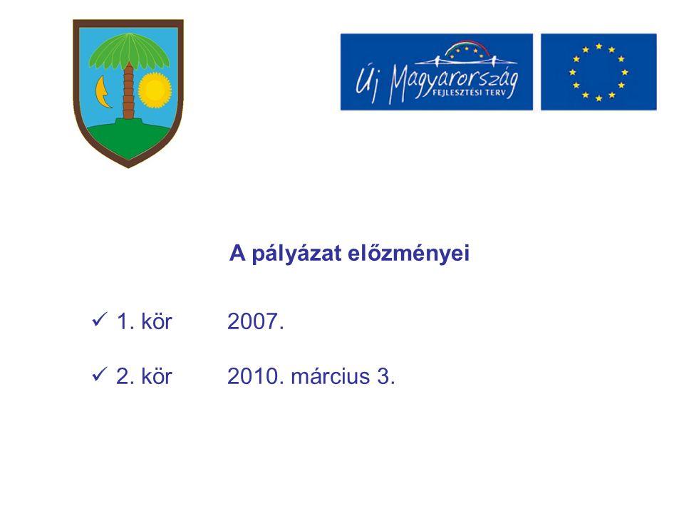 A pályázat előzményei 1. kör2007. 2. kör2010. március 3.
