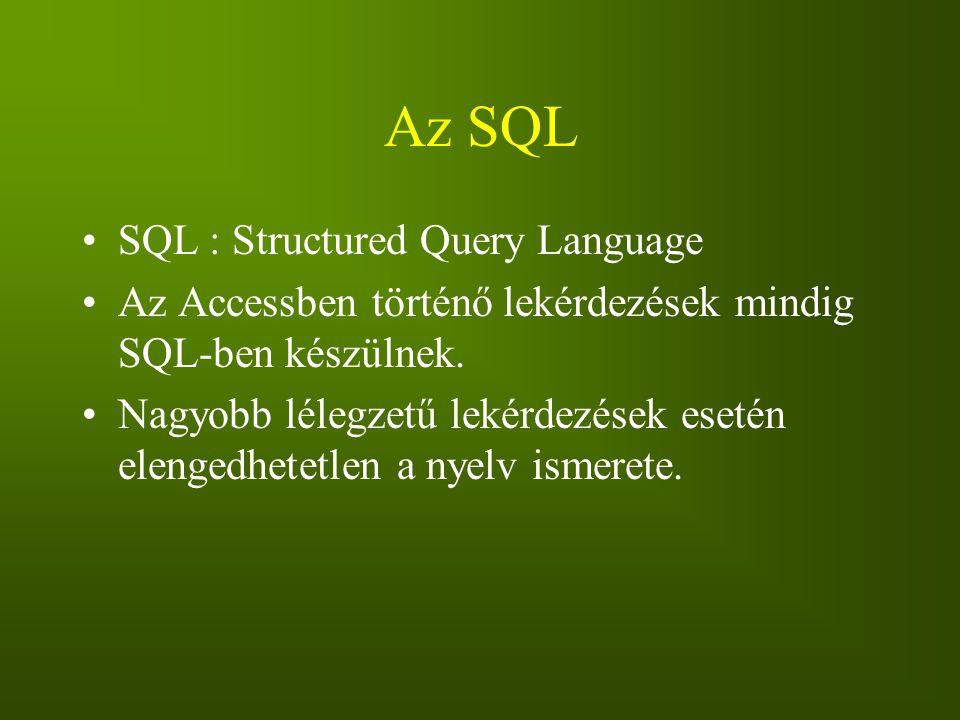 Az SQL SQL : Structured Query Language Az Accessben történő lekérdezések mindig SQL-ben készülnek. Nagyobb lélegzetű lekérdezések esetén elengedhetetl