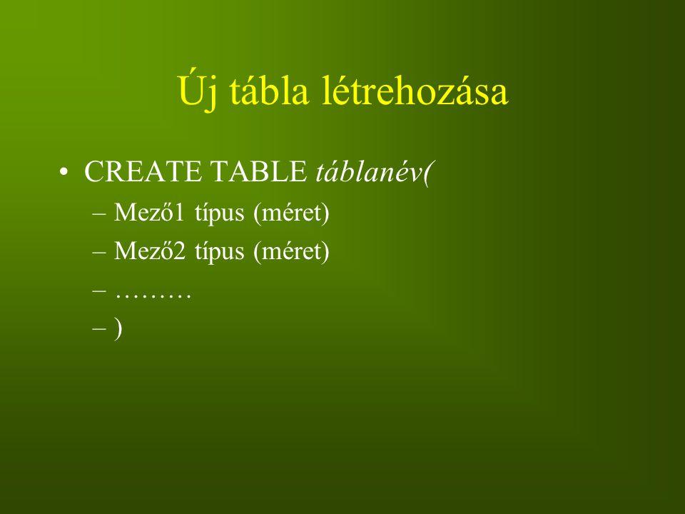 Új tábla létrehozása CREATE TABLE táblanév( –Mező1 típus (méret) –Mező2 típus (méret) –……… –)