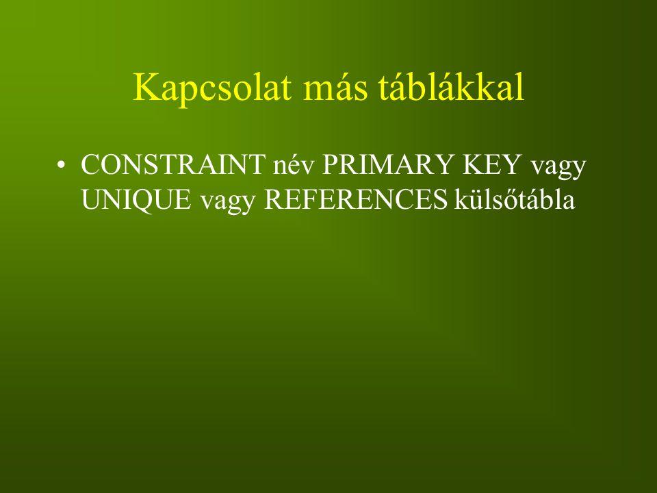 Kapcsolat más táblákkal CONSTRAINT név PRIMARY KEY vagy UNIQUE vagy REFERENCES külsőtábla