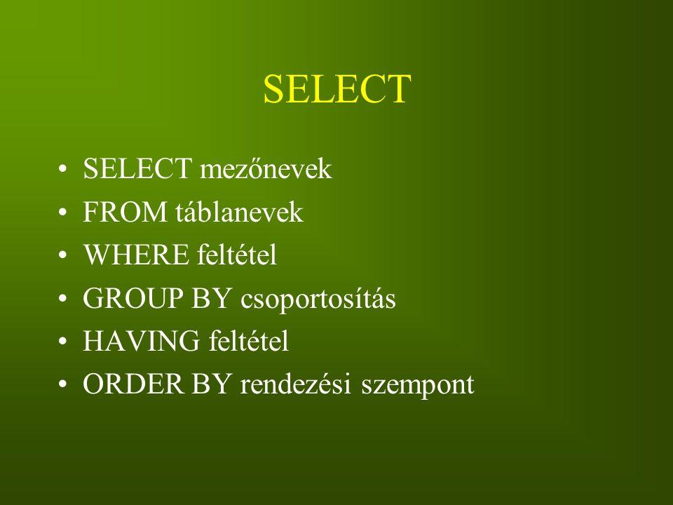 SELECT SELECT mezőnevek FROM táblanevek WHERE feltétel GROUP BY csoportosítás HAVING feltétel ORDER BY rendezési szempont