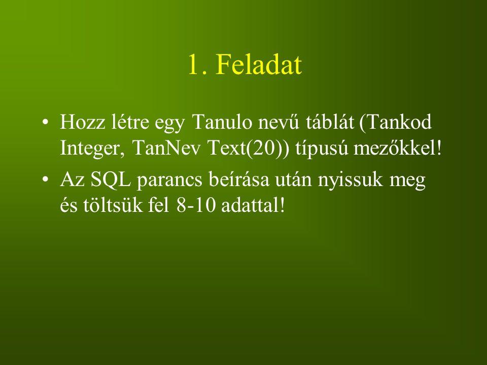 1. Feladat Hozz létre egy Tanulo nevű táblát (Tankod Integer, TanNev Text(20)) típusú mezőkkel! Az SQL parancs beírása után nyissuk meg és töltsük fel