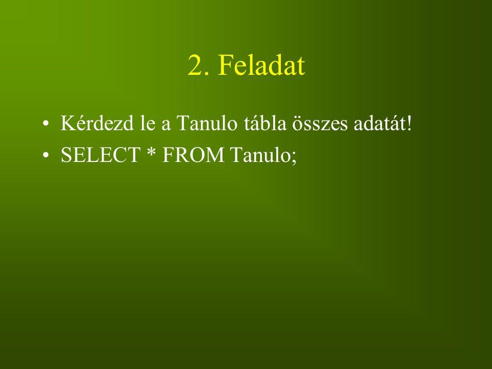 2. Feladat Kérdezd le a Tanulo tábla összes adatát! SELECT * FROM Tanulo;