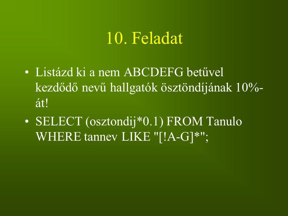 10. Feladat Listázd ki a nem ABCDEFG betűvel kezdődő nevű hallgatók ösztöndíjának 10%- át! SELECT (osztondij*0.1) FROM Tanulo WHERE tannev LIKE