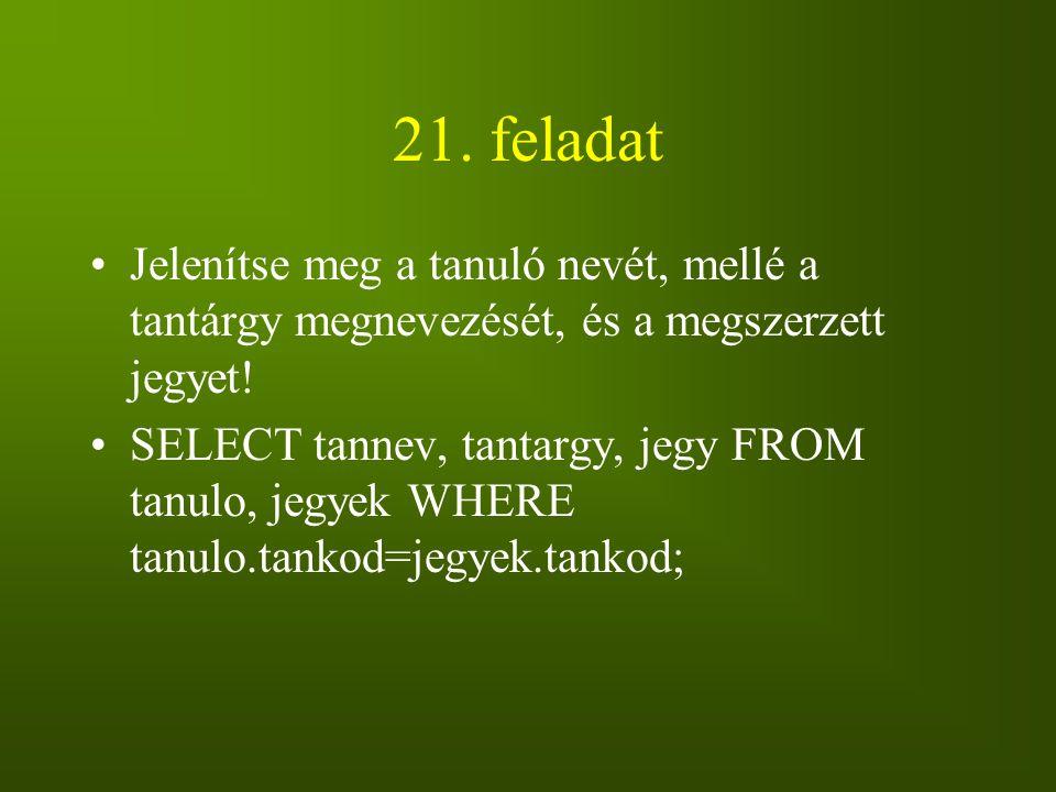 21. feladat Jelenítse meg a tanuló nevét, mellé a tantárgy megnevezését, és a megszerzett jegyet! SELECT tannev, tantargy, jegy FROM tanulo, jegyek WH