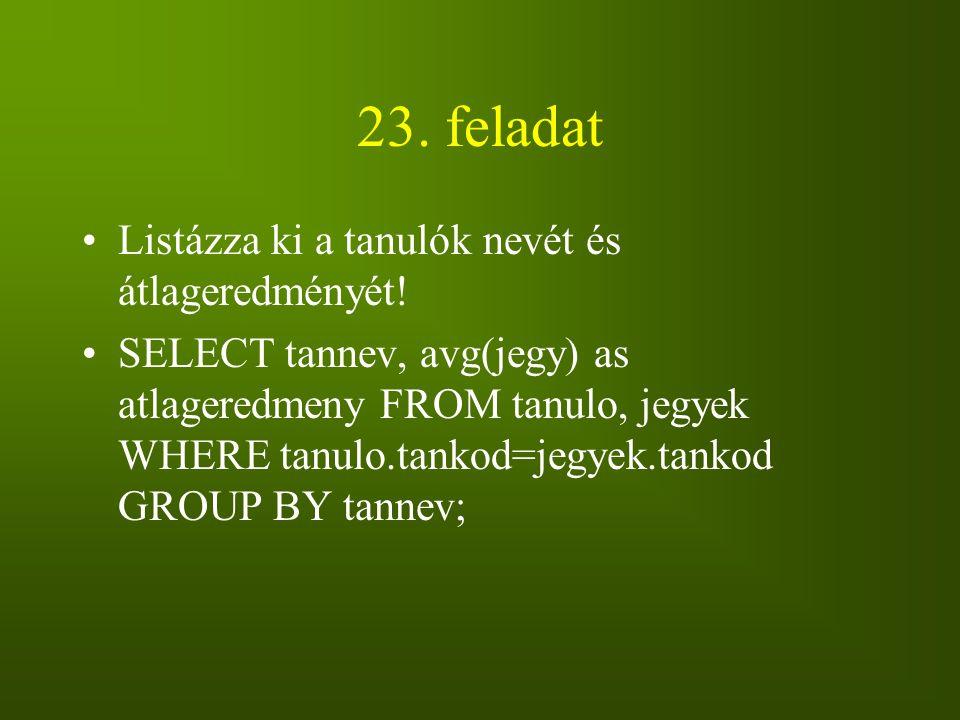 23. feladat Listázza ki a tanulók nevét és átlageredményét! SELECT tannev, avg(jegy) as atlageredmeny FROM tanulo, jegyek WHERE tanulo.tankod=jegyek.t