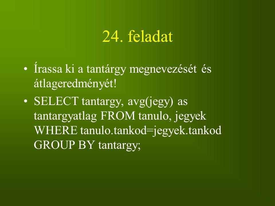 24. feladat Írassa ki a tantárgy megnevezését és átlageredményét! SELECT tantargy, avg(jegy) as tantargyatlag FROM tanulo, jegyek WHERE tanulo.tankod=