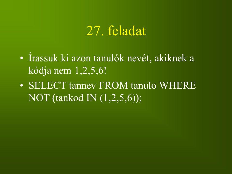 27. feladat Írassuk ki azon tanulók nevét, akiknek a kódja nem 1,2,5,6! SELECT tannev FROM tanulo WHERE NOT (tankod IN (1,2,5,6));