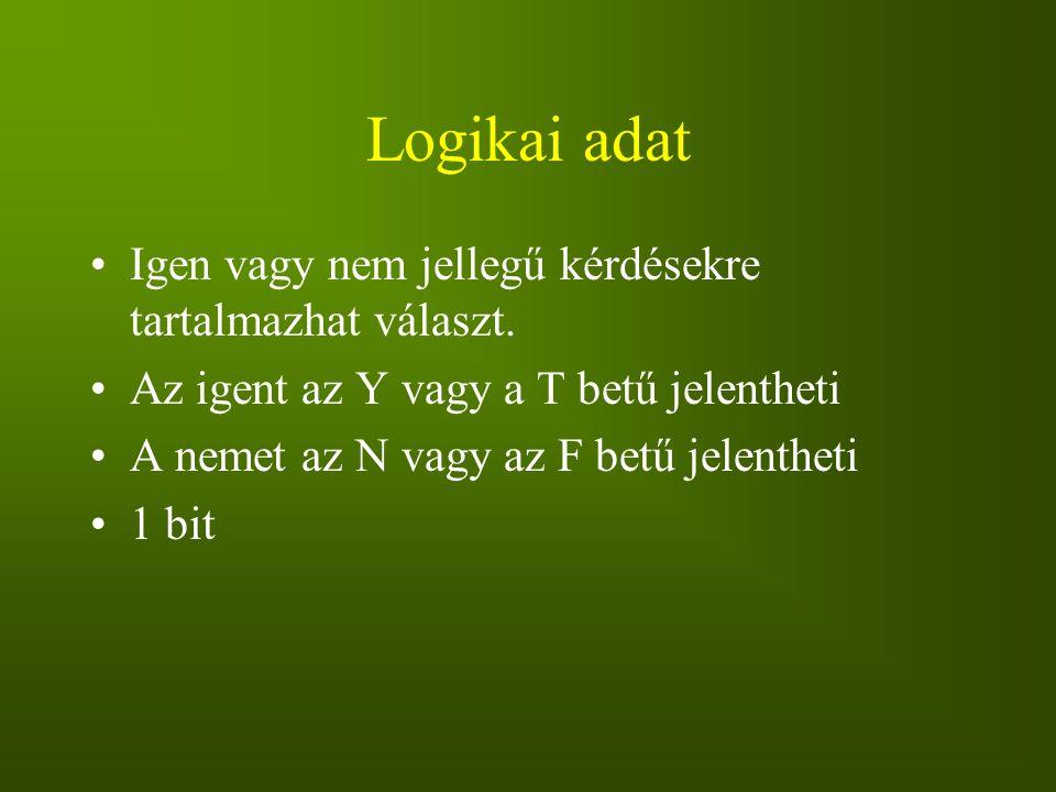 Logikai adat Igen vagy nem jellegű kérdésekre tartalmazhat választ. Az igent az Y vagy a T betű jelentheti A nemet az N vagy az F betű jelentheti 1 bi