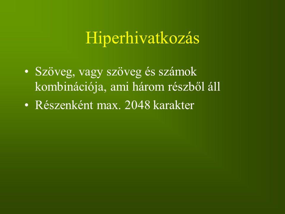 Hiperhivatkozás Szöveg, vagy szöveg és számok kombinációja, ami három részből áll Részenként max. 2048 karakter
