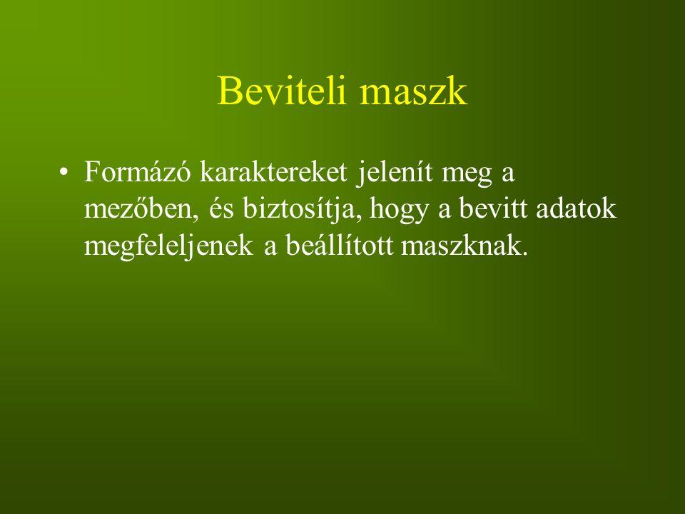 Beviteli maszk Formázó karaktereket jelenít meg a mezőben, és biztosítja, hogy a bevitt adatok megfeleljenek a beállított maszknak.