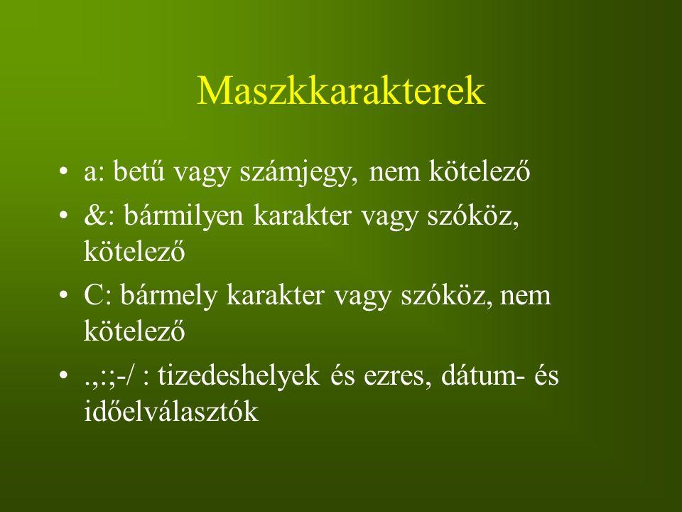 Maszkkarakterek a: betű vagy számjegy, nem kötelező &: bármilyen karakter vagy szóköz, kötelező C: bármely karakter vagy szóköz, nem kötelező.,:;-/ :