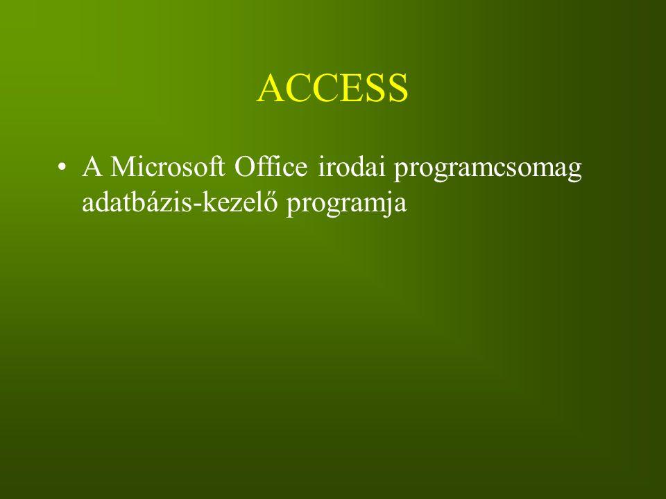 ACCESS A Microsoft Office irodai programcsomag adatbázis-kezelő programja