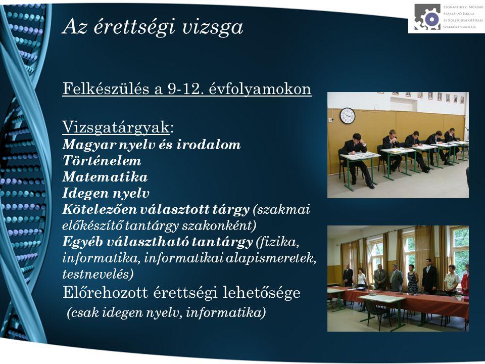 Az érettségi vizsga Felkészülés a 9-12. évfolyamokon Vizsgatárgyak: Magyar nyelv és irodalom Történelem Matematika Idegen nyelv Kötelezően választott