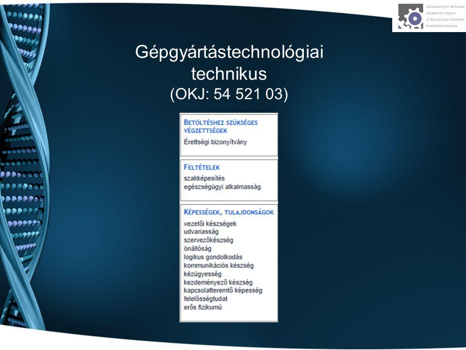 Gépgyártástechnológiai technikus (OKJ: 54 521 03)