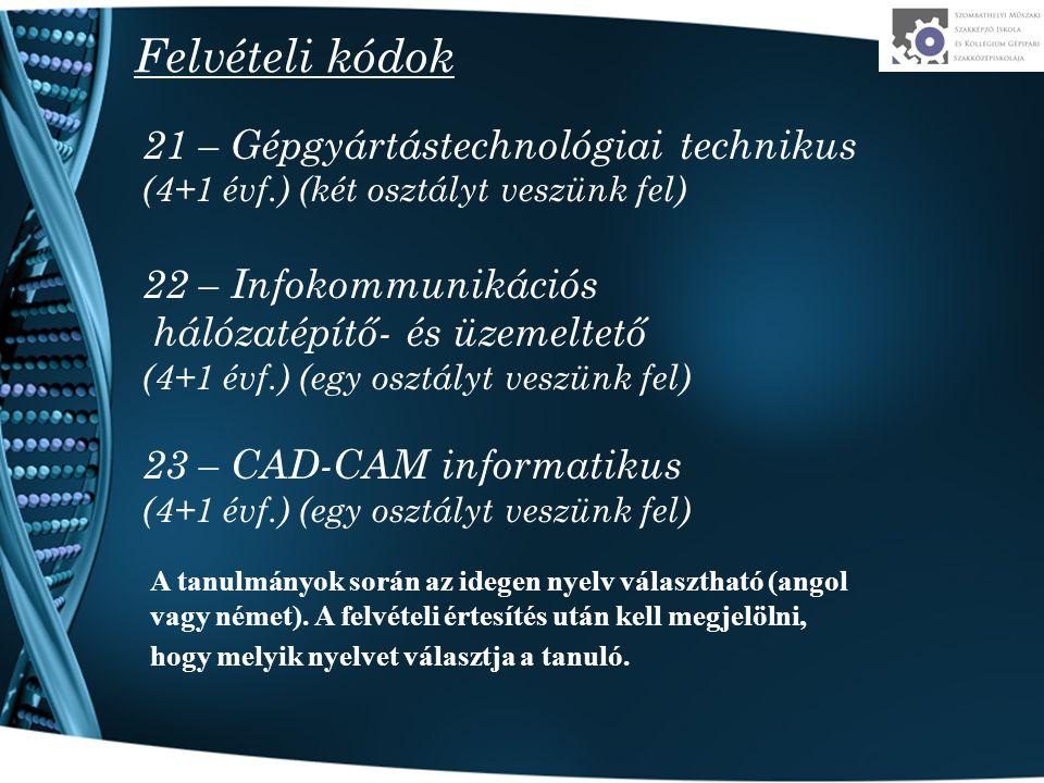 Felvételi kódok 21 – Gépgyártástechnológiai technikus (4+1 évf.) (két osztályt veszünk fel) 22 – Infokommunikációs hálózatépítő- és üzemeltető (4+1 év