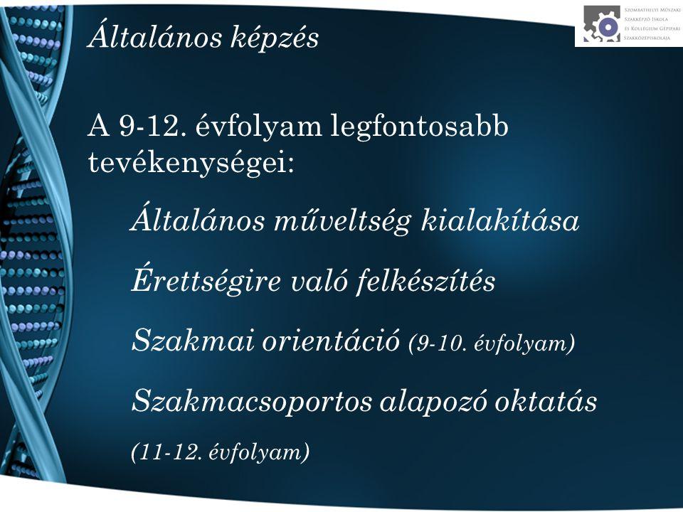 Általános műveltség kialakítása Humán tárgyak Magyar nyelv és irodalom, történelem, társadalomi és állampolgári ismeretek, etika, művészetek Természettudományos tárgyak Matematika, fizika, kémia, földrajz, biológia-egészségtan Idegen nyelv Választható minden szakmacsoportban Választható minden szakmacsoportban (pl.