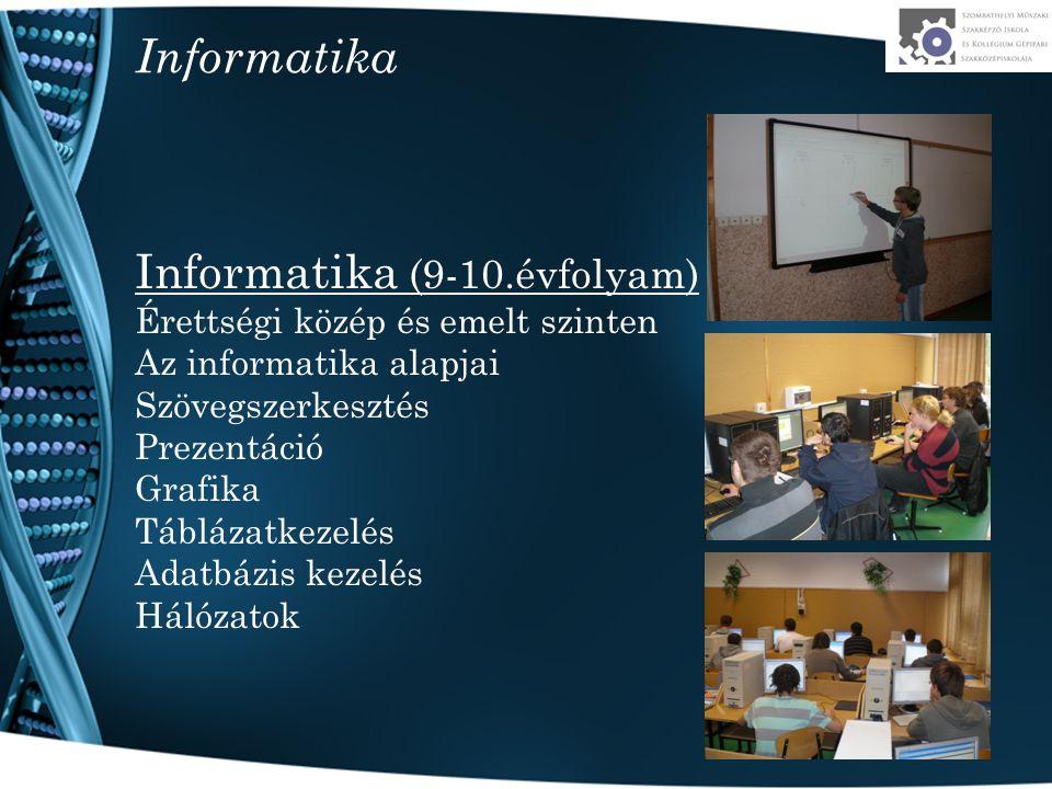 Informatika Informatika (9-10.évfolyam) Érettségi közép és emelt szinten Az informatika alapjai Szövegszerkesztés Prezentáció Grafika Táblázatkezelés Adatbázis kezelés Hálózatok