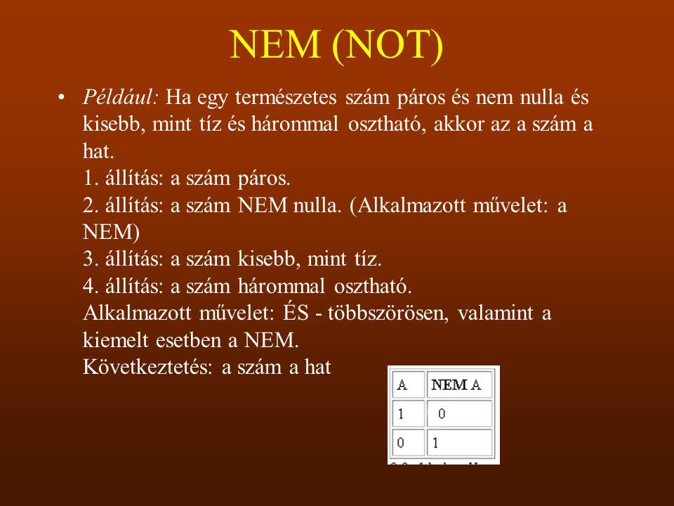 NEM (NOT) Például: Ha egy természetes szám páros és nem nulla és kisebb, mint tíz és hárommal osztható, akkor az a szám a hat. 1. állítás: a szám páro